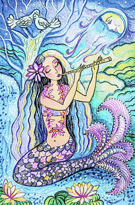 Painting - Night Mermaid Music by Eva Campbell