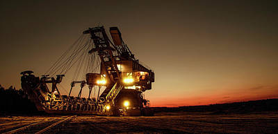 Backhoe Photograph - Night Mining Bucket Excavator by Daniel Hagerman