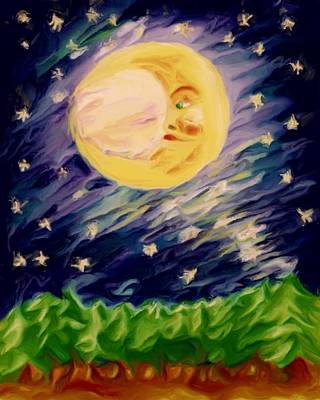 Art Print featuring the painting Night Moon by Shelley Bain