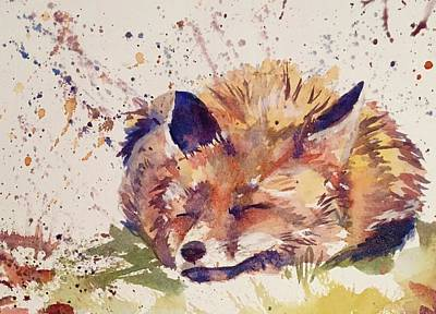 Painting - Night Night Fox by J Worthington Watercolors