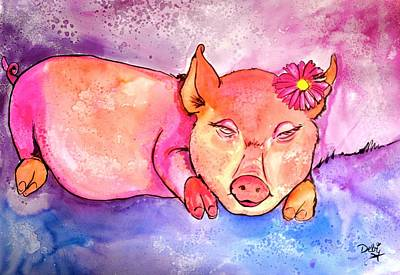 Painting - Night Night Little Piggy by Debi Starr