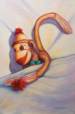 Painting - Night Night Sock Monkey by Shannon Grissom