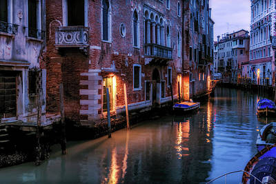 Photograph - Night On A Canal In Venice by Georgia Fowler
