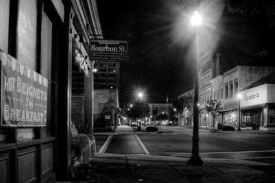 Photograph - Night On Front Street In Black And White by Greg Mimbs