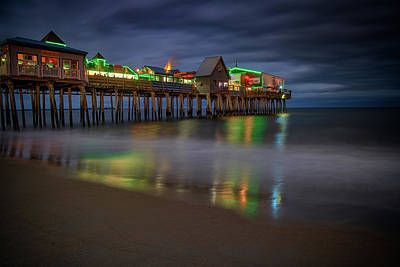 Photograph - Night On Old Orchard Beach by Rick Berk