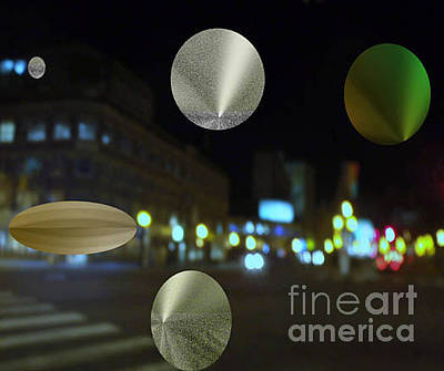 Photograph - Night On The Avenue With Floating Metallic Icons by Joyce Dade