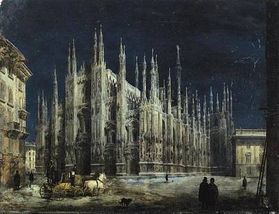 1850s Painting - Night On The Piazza Del Duomo by MotionAge Designs