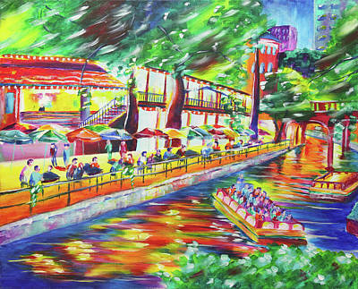 San Antonio River Walk Painting - Night On The River by Taylor Wise