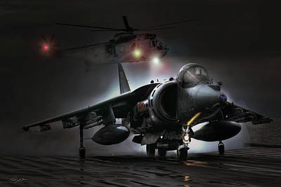 Harrier Digital Art - Night Ops by Peter Chilelli