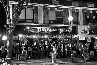 Photograph - Night Out At The Burren Somerville Ma Davis Square Black And White by Toby McGuire