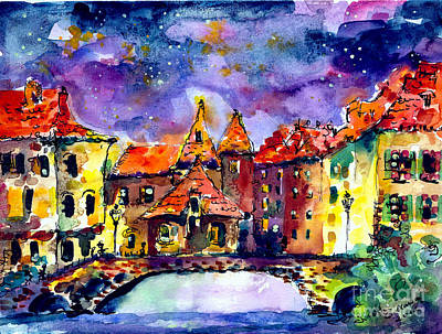 Night Over Annecy Art Print