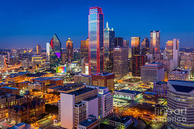 Night Over Dallas Print by Inge Johnsson
