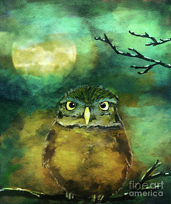 Digital Art - Night Owl by Jan Brons
