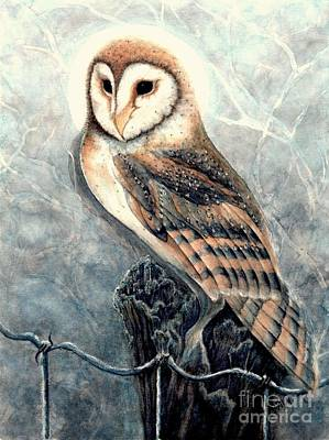 Wooden Fence Post Painting - Night Owl by Janine Riley