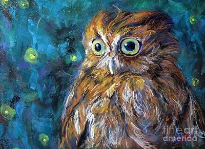 Painting - Night Owl by Jieming Wang
