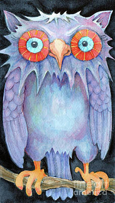 Art Print featuring the painting Night Owl by Lora Serra