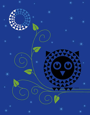 Geometric Animal Digital Art - Night Owl by Ron Magnes