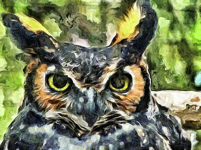 Owl Mixed Media - Night Owl by Trish Tritz