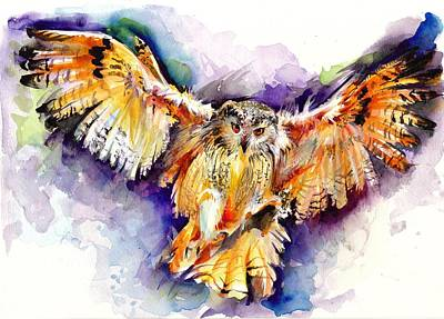 Blau Painting - Night Owl Watercolor, Hunting Owl, Flying Brown Owl by Tiberiu Soos
