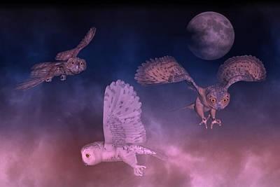 Night Owls Art Print by Betsy Knapp