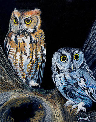 Nocturnal Animals Painting - Night Owls by Ferrel Cordle