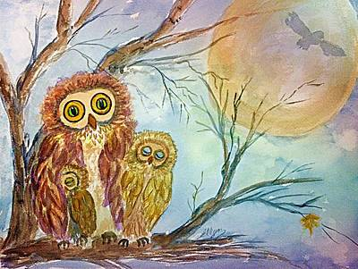 Painting - Night Owls Harvest Moon by Ellen Levinson
