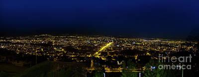 Photograph - Night Panorama Of Cuenca, Ecuador II by Al Bourassa