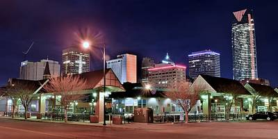 Photograph - Night Panorama Of Okc by Frozen in Time Fine Art Photography