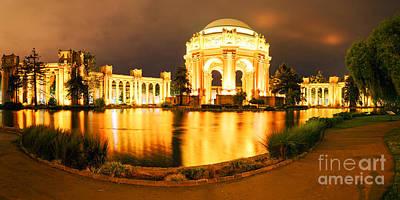Night Panorama Of Palace Of Fine Arts Theater In Marina District - San Francisco California Art Print by Silvio Ligutti