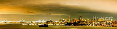Sfo Photograph - Night Panorama Of San Francisco Skyline With Oakland Bay Bridge - San Francisco California by Silvio Ligutti
