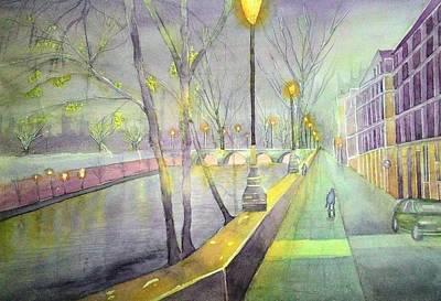 Night Paris Street   Art Print by Stanley Sum wai lee