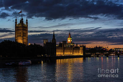London Eye Photograph - Night Parliament And Big Ben by Mike Reid