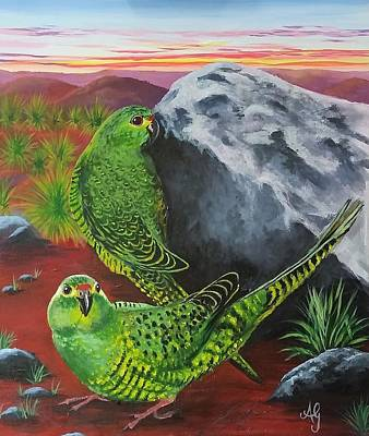 Painting - Night Parrots by Anne Gardner
