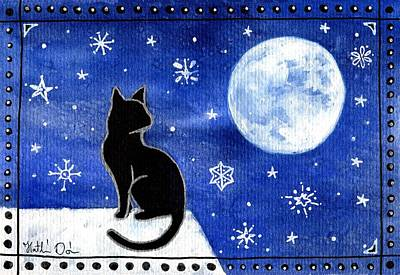 Painting - Night Patrol At Wintertime by Dora Hathazi Mendes