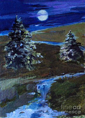 Painting - Night Pines by Diane Ursin