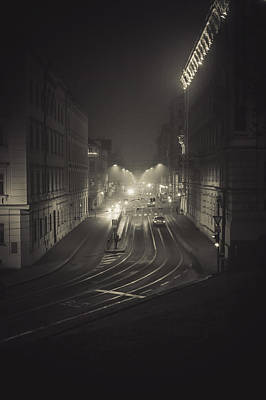 Target Threshold Nature - Night Pulse of Streets. Misty Nights In Brno by Jenny Rainbow