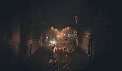 Photograph - Night Pulse Of The City. Misty Nights In Brno by Jenny Rainbow