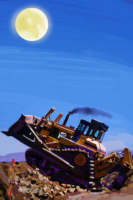 Big Moon Painting - Night Push by Brad Burns
