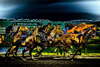Horse Bridle Photograph - Night Racing by David Patterson