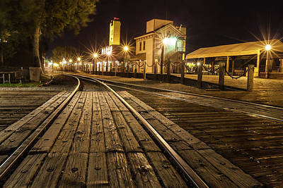 Old Sacramento Photograph - Night Rails by Charles Garcia