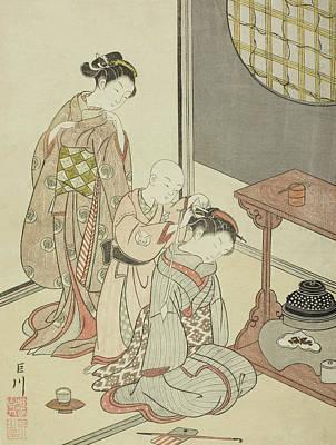 Geisha Drawing - Night Rain Of The Tea Stand by Suzuki Harunobu