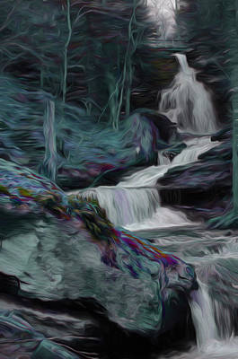 Digital Art - Night Rainbow Waterfall by Beth Sawickie