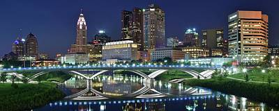 Photograph - Night Reflection In Columbus 2017 by Frozen in Time Fine Art Photography