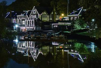 Photograph - Night Reflection Of Boathouse Row by Frozen in Time Fine Art Photography