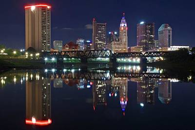 Photograph - Night Reflection Of Columbus by Frozen in Time Fine Art Photography