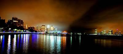 Photograph - Night Reflections Hudson River Ny Nj by Ron Bartels
