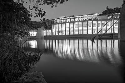 Photograph - Night Reflections Of Crystal Bridges Museum - Black And White by Gregory Ballos