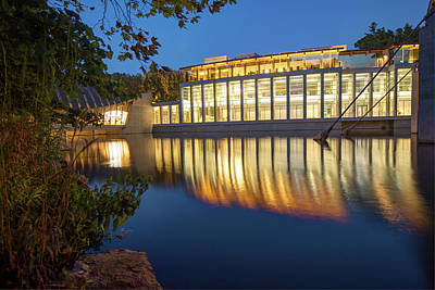 Photograph - Night Reflections Of Crystal Bridges Museum by Gregory Ballos