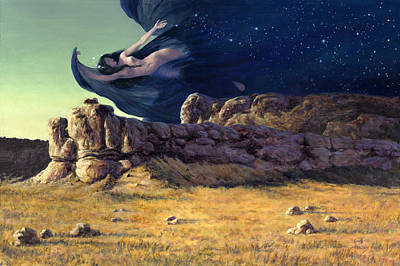 Mystical Landscape Painting - Night by Richard Hescox