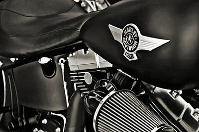 Night Rider-black White Art Print by Lucky LaRue